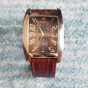 Guess Men's Brown Leather Watch